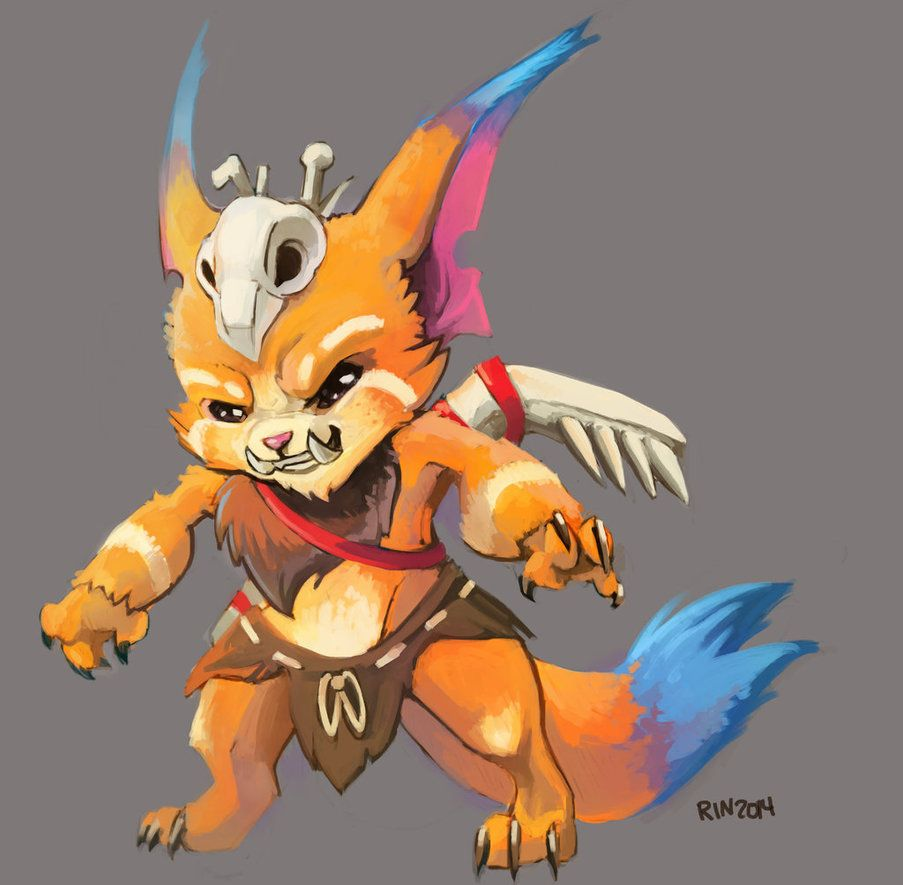 League of legends champion Gnar, Inspiration, fanart credit to owner, no really a alien but I like the body model