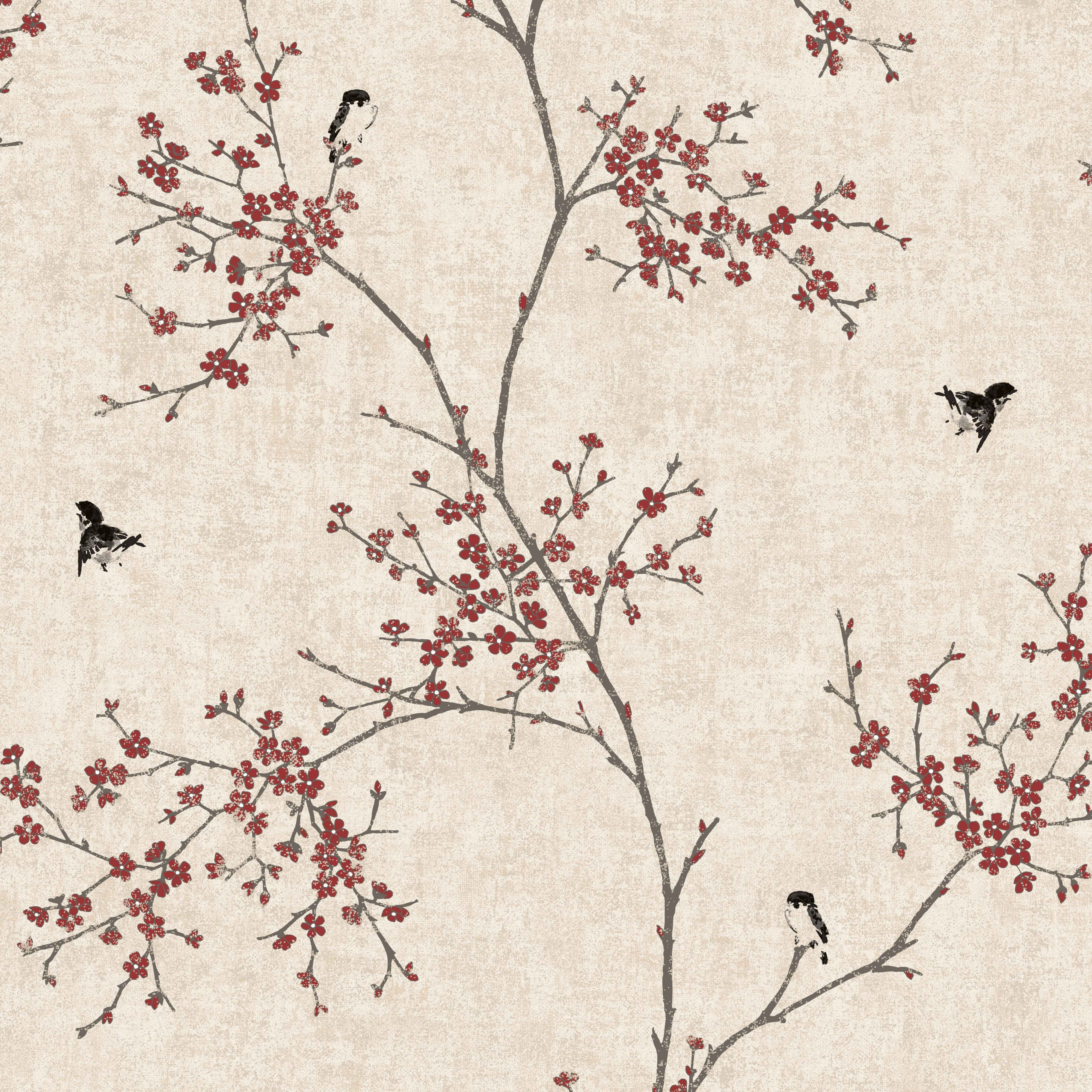 Graham Brown Beige Red Oriental Blossom Wallpaper Departments Diy At B Q Bohemian Style Bedrooms Diy Wallpaper Gothic Accessories