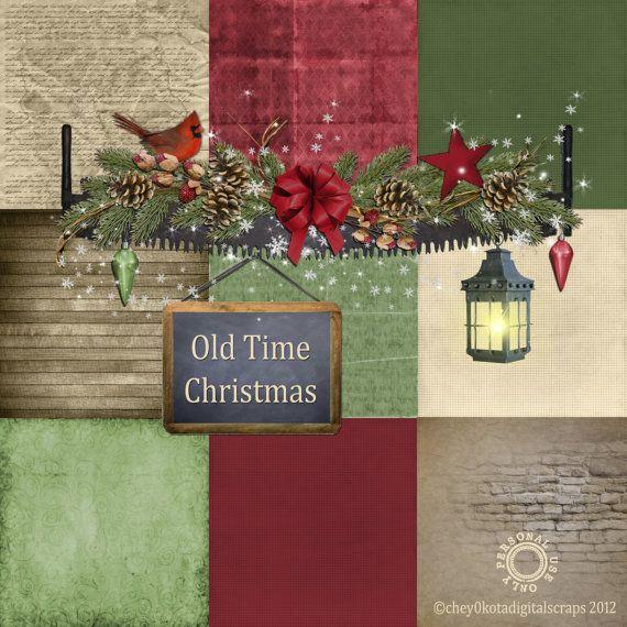 Old Time Christmas Paper Set 2 - Digital Scrapbooking