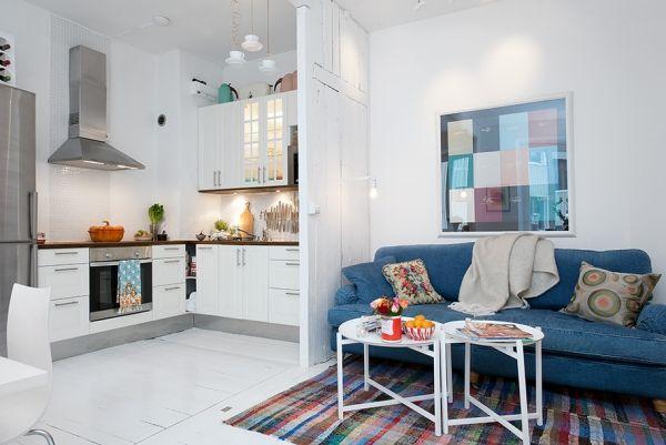loft-wohnung sofa blau-trennwand küche | abstinenz | pinterest