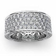woman\'s platinum white gold eternity ring pave diamonds - Google ...