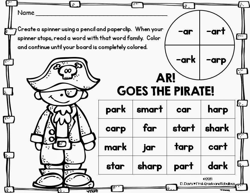 Ar Goes The Pirate A Freebie First Grade And Fabulous