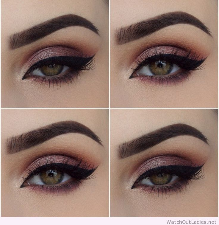 Pink Eye Makeup Black Eyeline And Green Eyes Watchoutladies