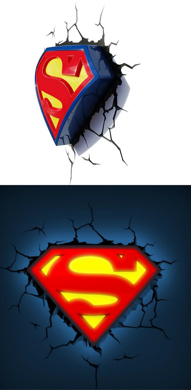 Superman Wandleuchte mit Wandtattoo | Dekoration Superhelden ...