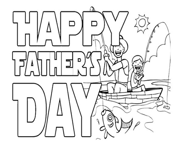 Happy Fishing On Father's Day Coloring Page For Kids