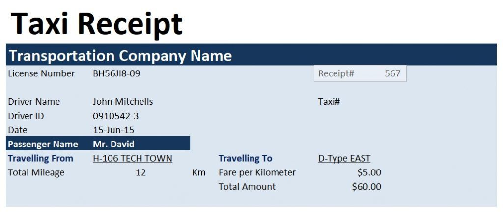 taxi invoice template taxi invoice template format word and excel