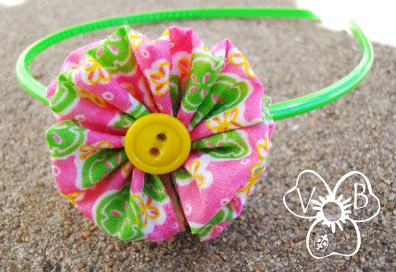 Pink & Lime Ruffle with yellow button detail on hard headband by #VioletsBuds