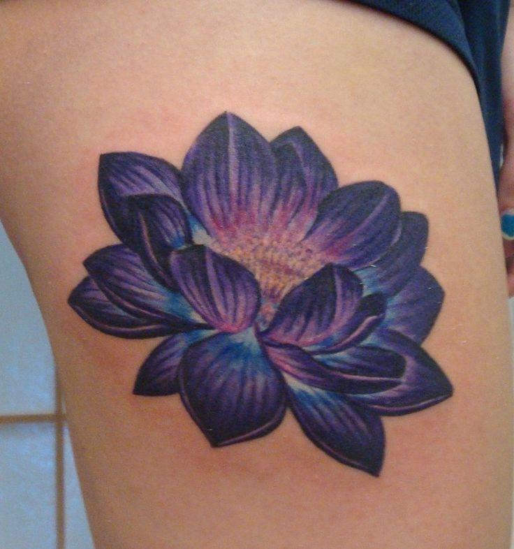 Blue Lotus Flower Tattoo On Side Rib Tattoos Purple Flower