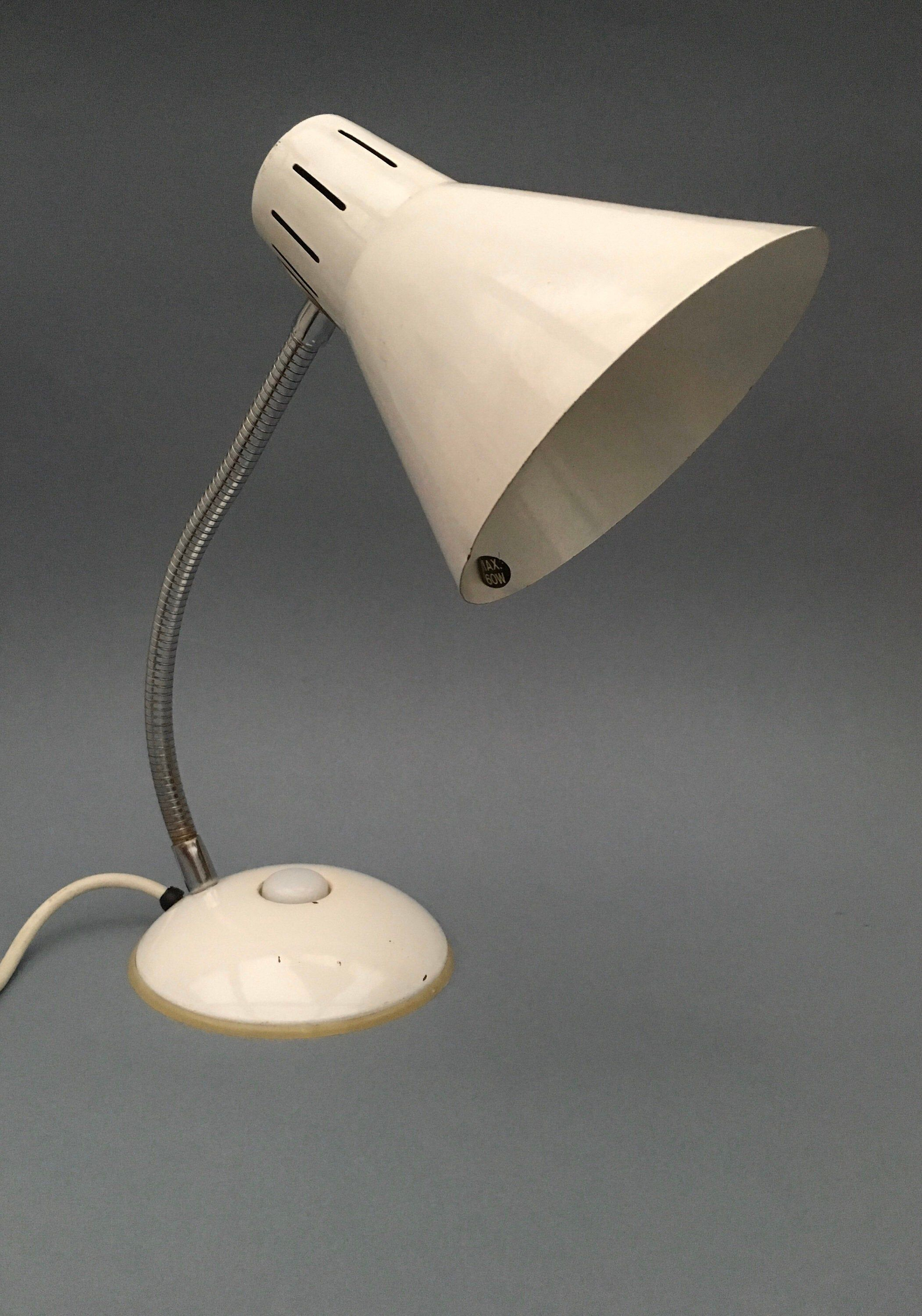 Excited To Share This Item From My Etsy Shop Vintage White Desk Lamp Light Gooseneck Adjustable Metal Light Made Retro Desk Lamp Desk Lamp Vintage White Desk