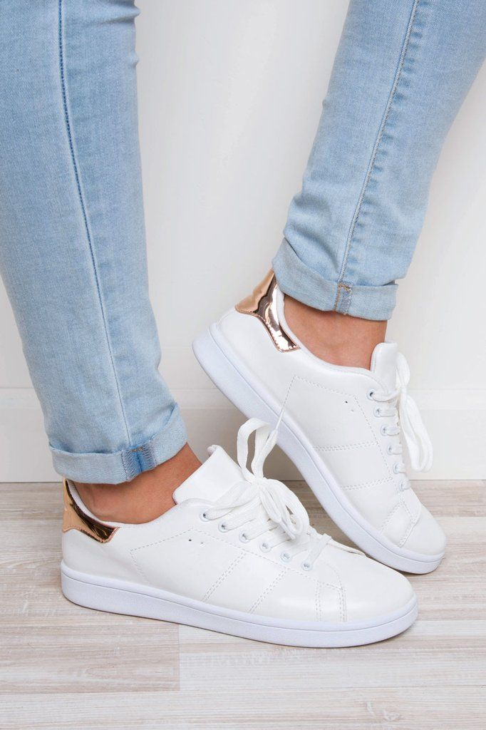 the latest 638ef ab4ae These rose gold Valerie Sneakers feature a white, faux leather exterior,  lace-up styling and white trim detailing. Metallic rose gold detail at the  back of ...