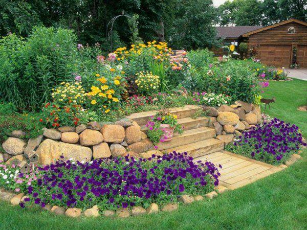 bunte blumen it steinen dekorieren Home outdoors Pinterest - gartengestaltung mit steinen und blumen