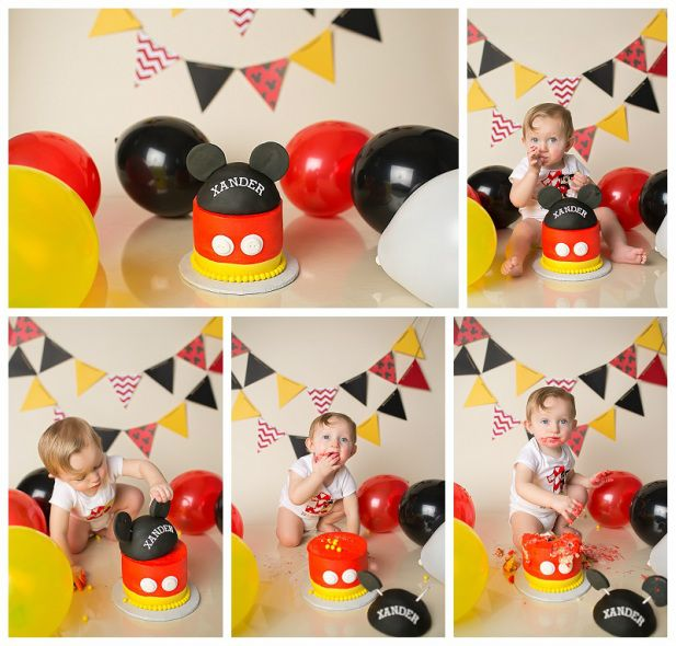 Mickey Mouse Smash Cake: Mickey Mouse Cake Smash Portrait, #mickeymouse #cakesmash