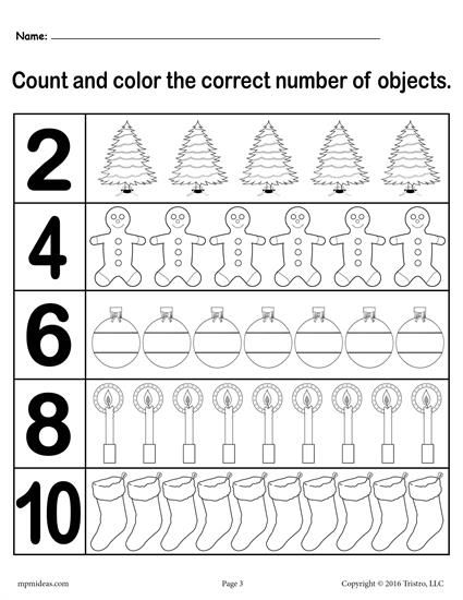 Christmas Count And Color Worksheet 5 Numbers Between 1 And 10 Counting Worksheets Color Worksheets Kindergarten Worksheets Printable