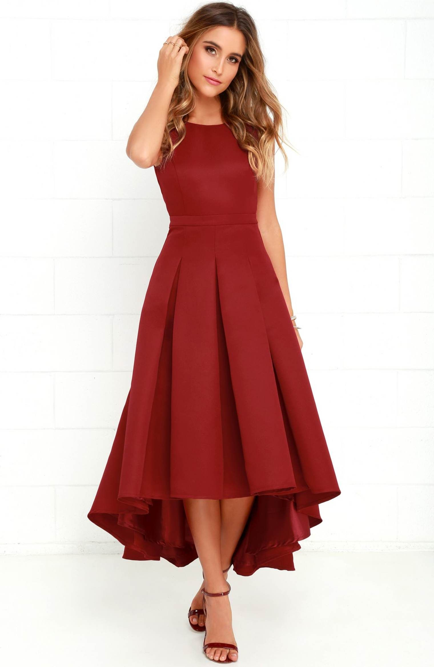 Main image lulus cutout back tea length highlow dress gala when you pass by in the paso doble take wine red high low dress heads will always turn sleeveless dress has an open back and pleated high low skirt ombrellifo Gallery