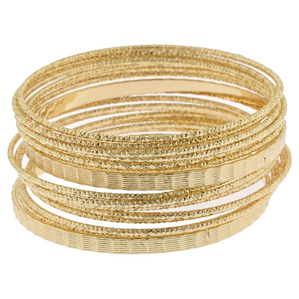 Women's Metal 15 Piece Bracelet Set - Gold