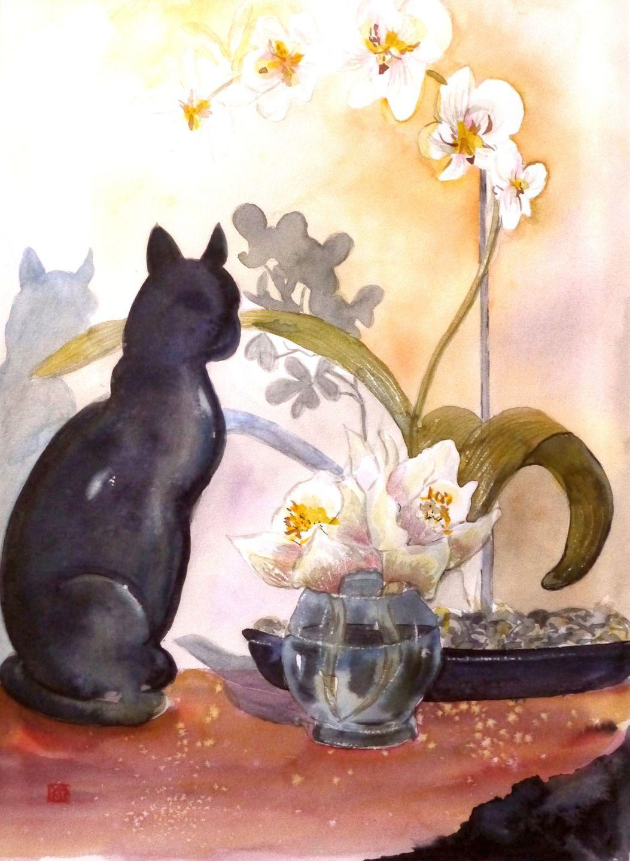 L Orchidee Blanche Au Chat Aquarelle Cyane Peintures Par Cyane