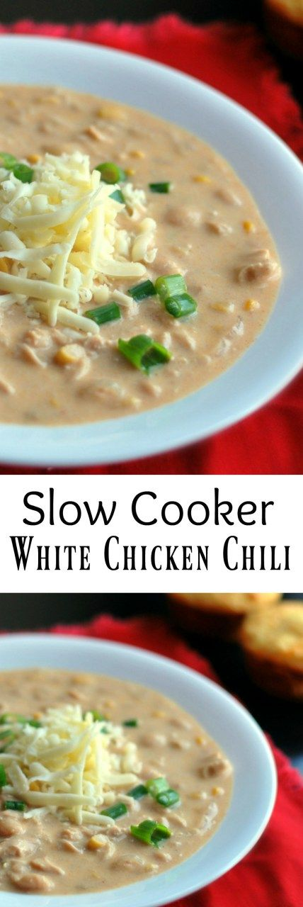 Slow Cooker White Chicken Chili | Aunt Bee's Recipes #whitechickenchili