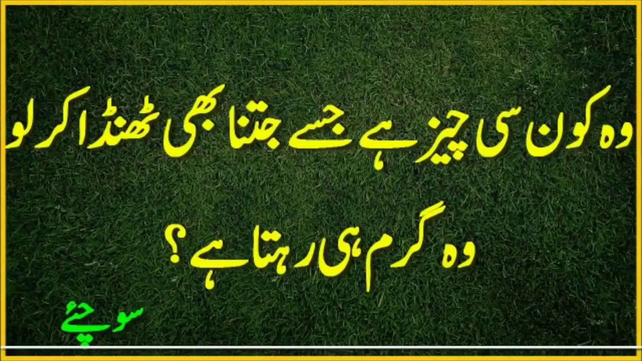 Common Sense Questions In Urdu/Hindi! Pehliyan in Urdu