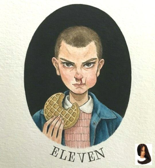 Eggos Unique Waffle Stranger Things Gift for Her Quirky Colored Pencil Art Print 11 Eleven Gift for Him Portrait