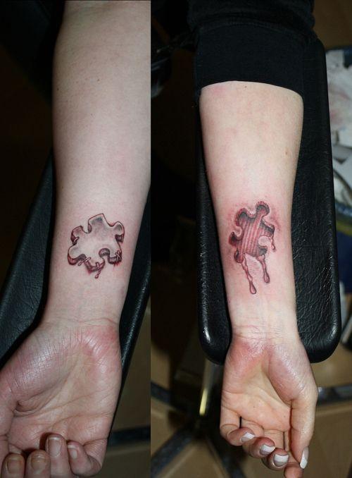 Puzzle Tattoos : puzzle, tattoos, Couples, Puzzle, Piece, Tattoo, Tattoos,, Designs,, Friendship, Tattoos