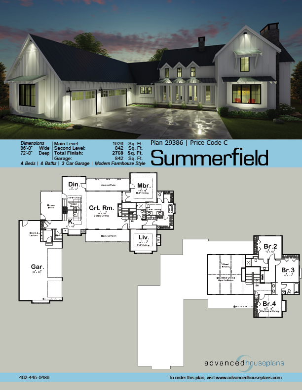 1 1 2 Story Modern Farmhouse House Plan Summerfield Farmhouse Style House L Shaped House Plans Farmhouse House