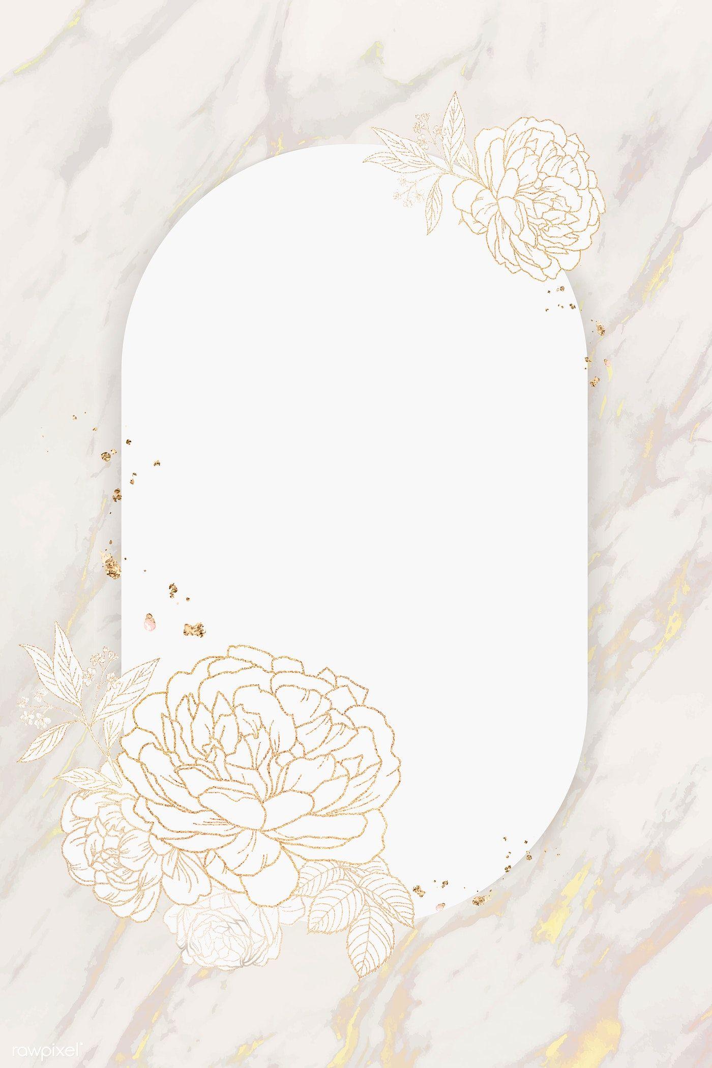 Download Premium Vector Of Shimmering Floral Golden Frame Vector 1211922 Floral Wallpaper Phone Floral Border Design Floral Logo Design