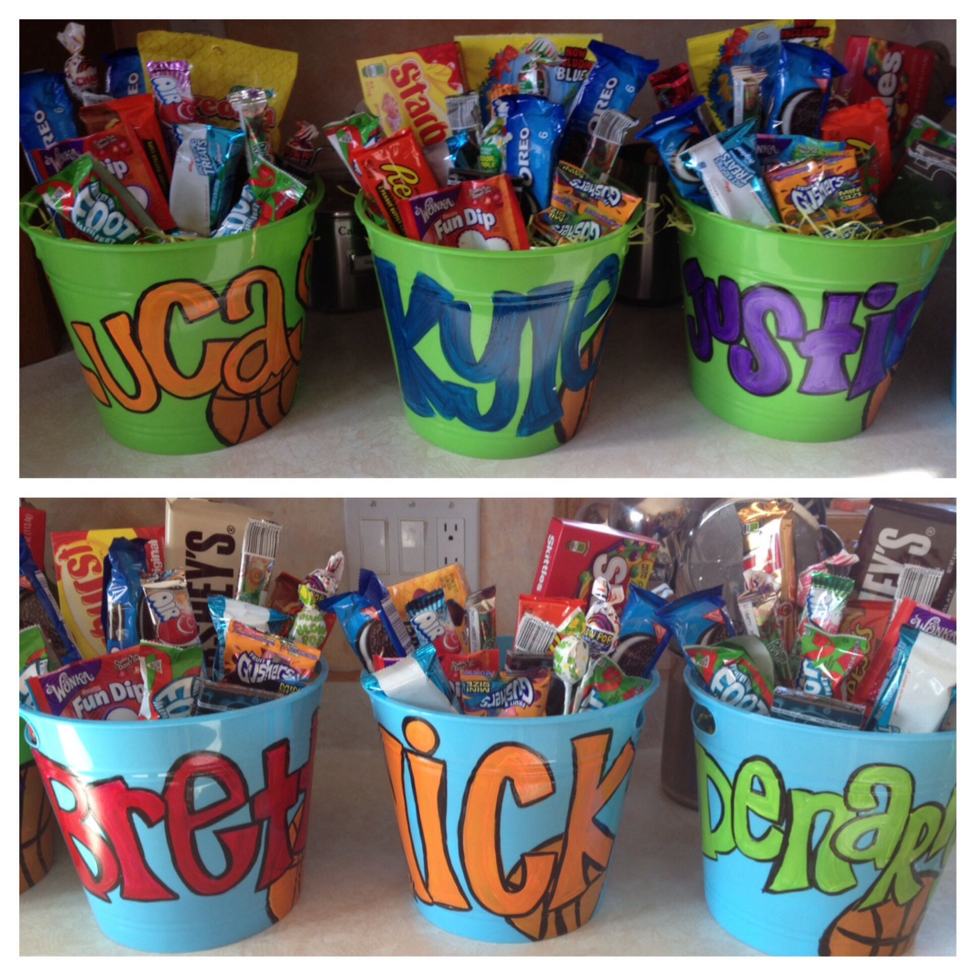 Boys basketball senior night gifts. Candy buckets :) | School ...