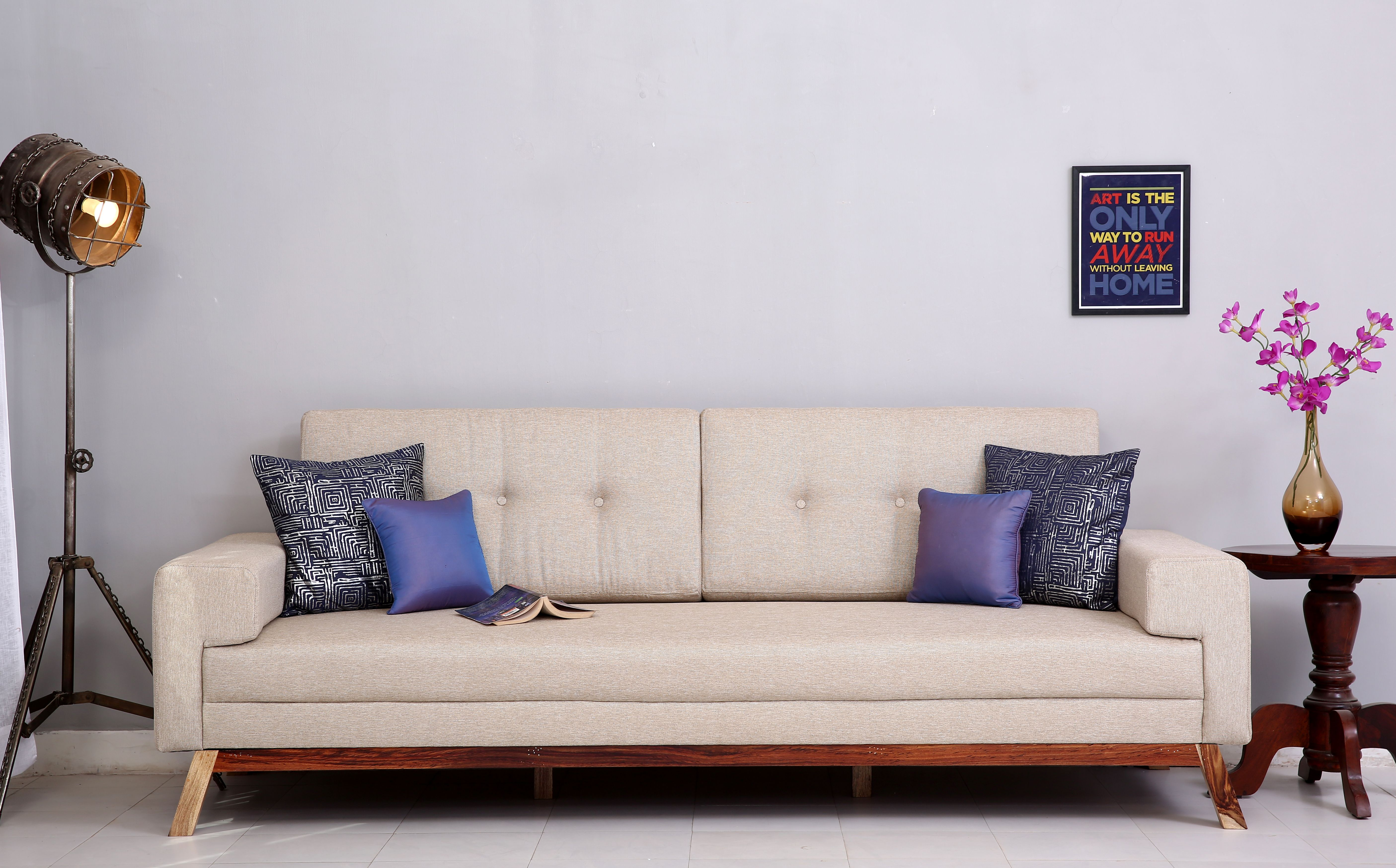 Buy Richie 3 Seater Sofa Fabric Warm Grey Online In India Sofa 3 Seater Sofa Fabric Sofa