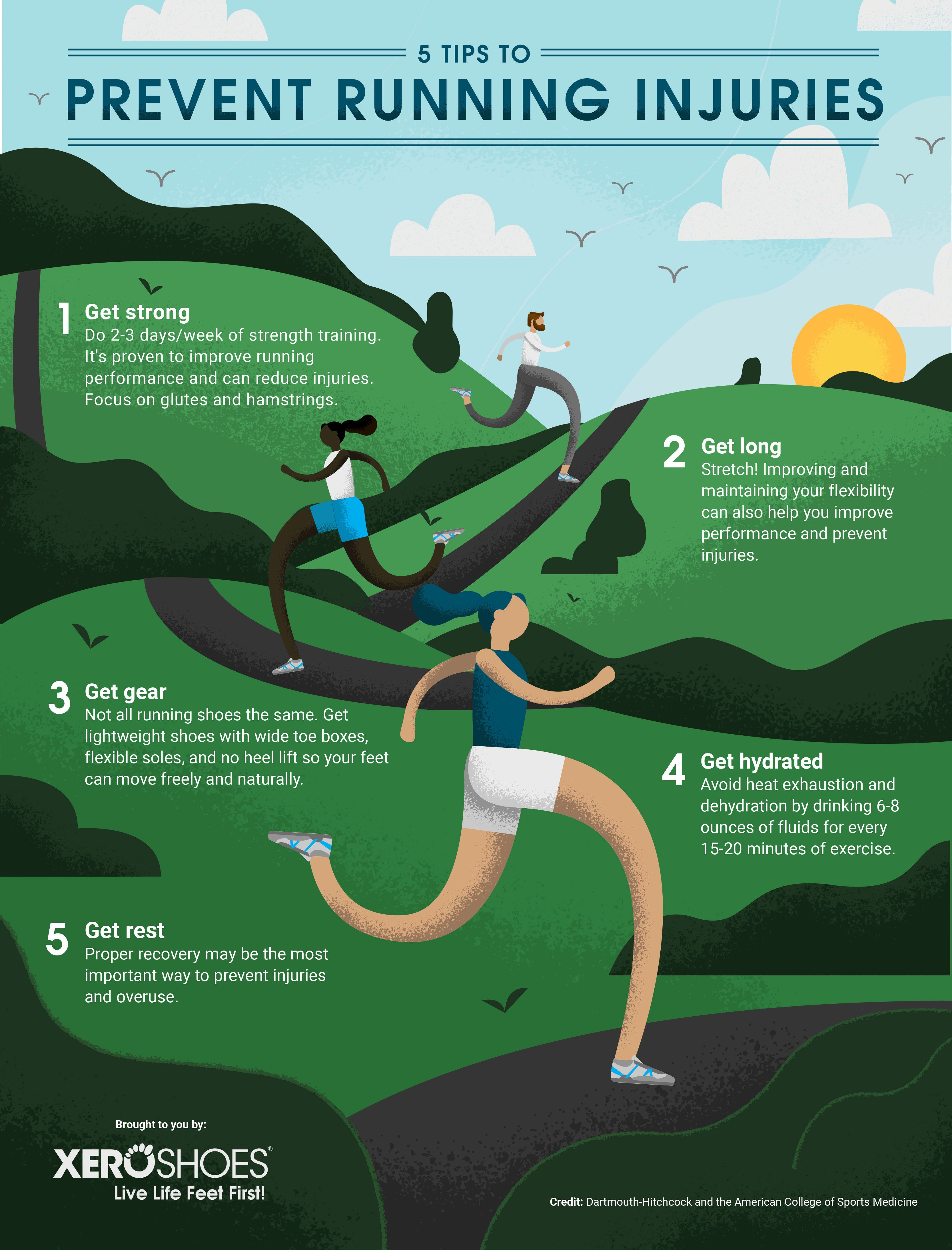 5 Tips To Help Prevent Running Injuries Xero Shoes Running Injuries Running For Beginners Running Tips