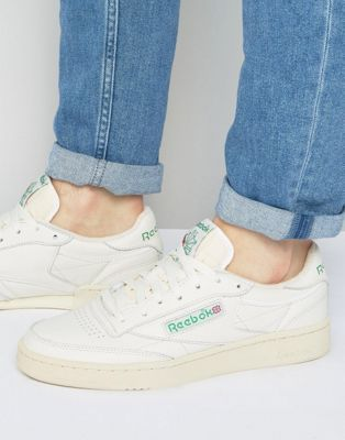 Reebok Classics Off White & Green Club C 85 Vintage Sneakers