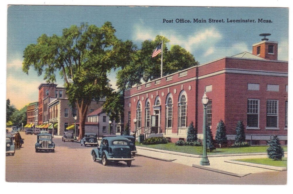 Vintage 1940 S Main Street Post Office Leominster Massachusetts Postcard New England Day Trips Main Street Leominster Massachusetts