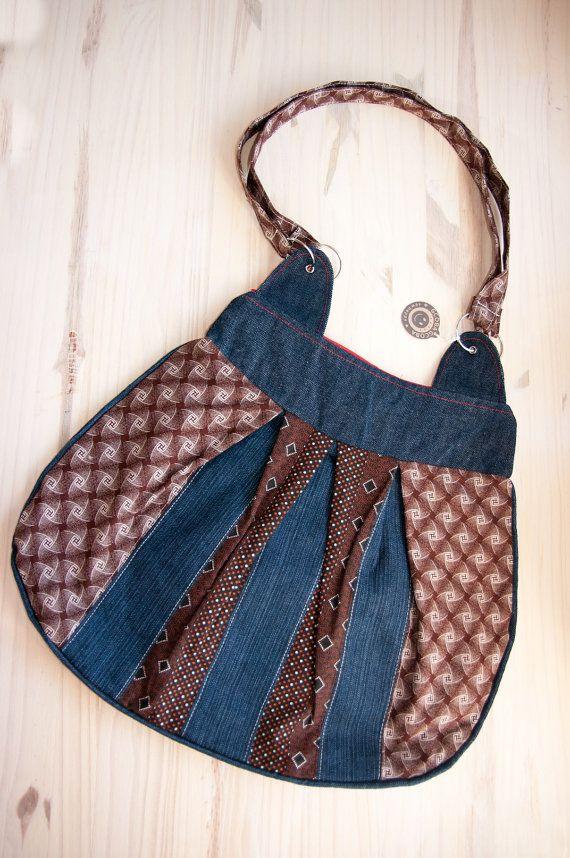 Big hobo handbag made from South African Shweshwe by