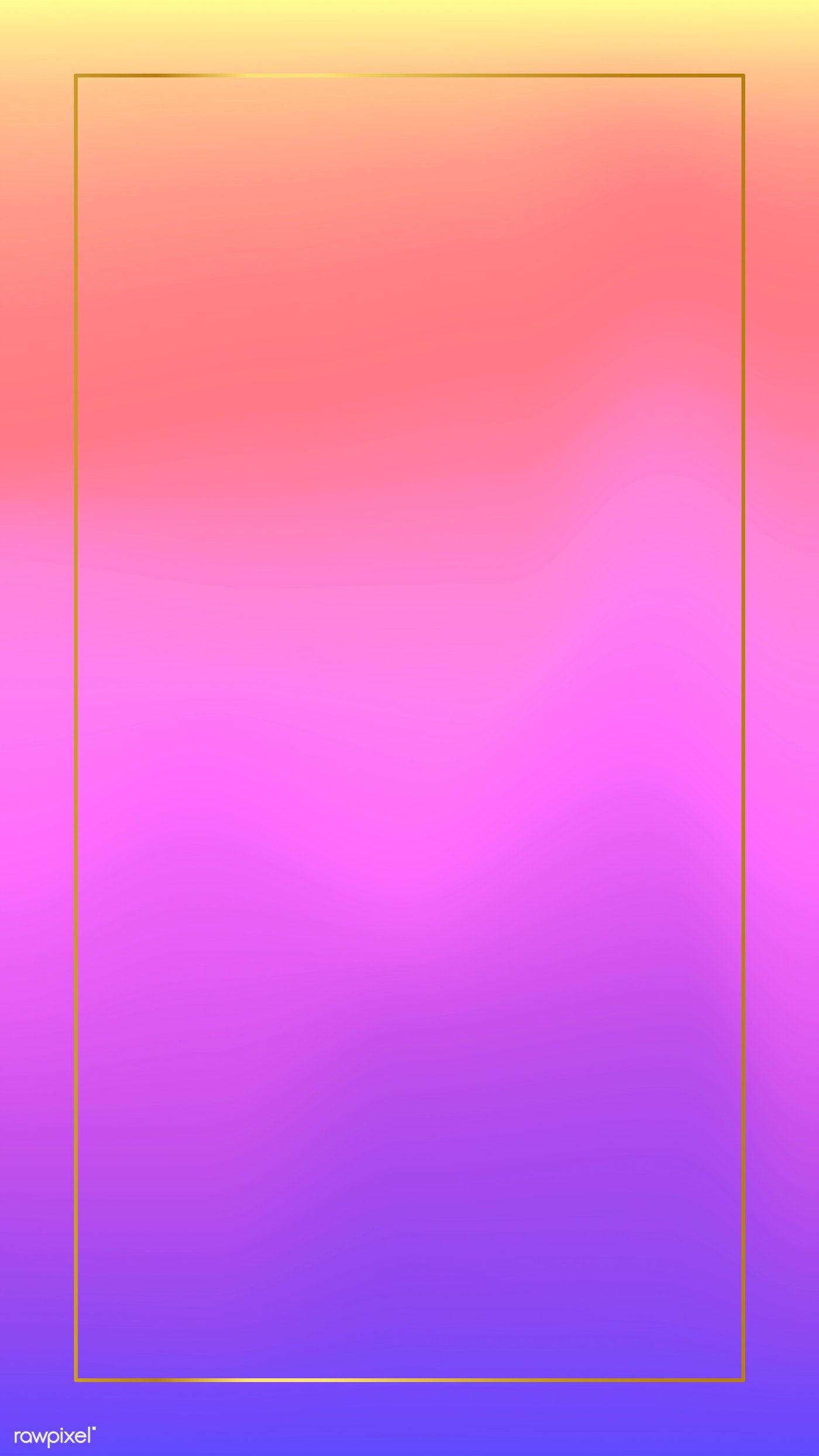 Download premium vector of Gold frame on pink and purple holographic