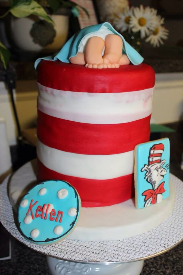 Dr. Seuss Baby Shower Cake Chocolate And Vanilla Layers Filled With  Chocolate Fudge Covered In Buttercream Icing. Hat Was Covered In Fondant.