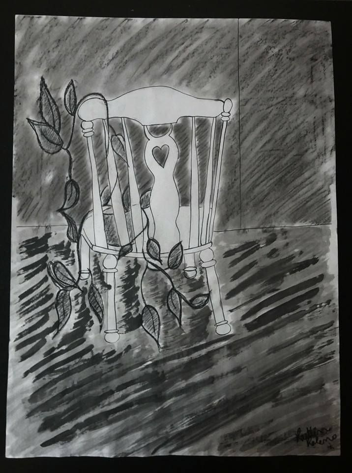 Positive/Negative space assignment-- rocking chair. Charcoal, India ink, and pencil.