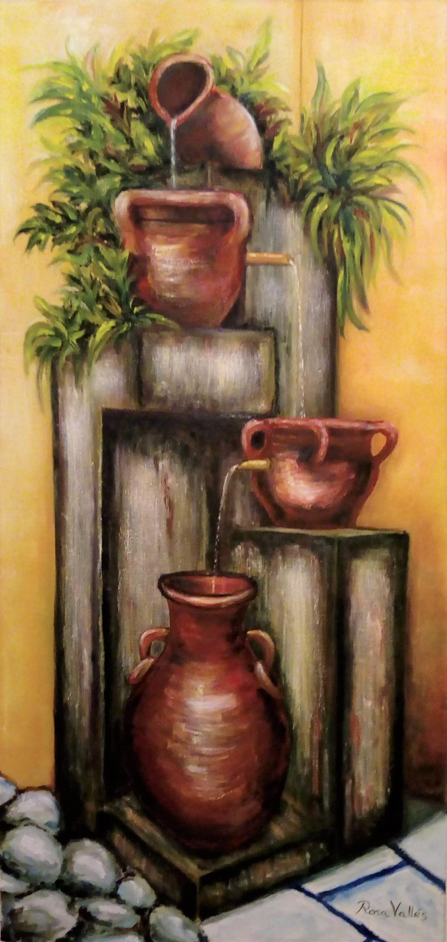 Rosa Valles Cantaros Obra Original Oleo Sobre Lienzo Arte En Lienzo Cuadros De Arte Pintura De Jarrones
