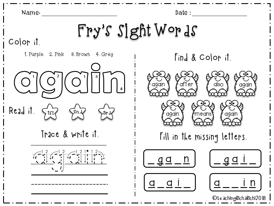 Fry Sight Word Coloring Pages Design