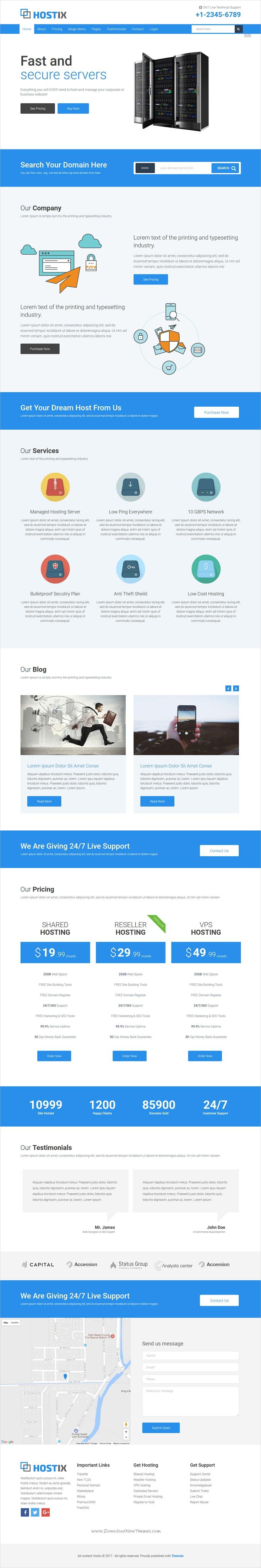 hostix responsive parallax hosting website html5 template rtl