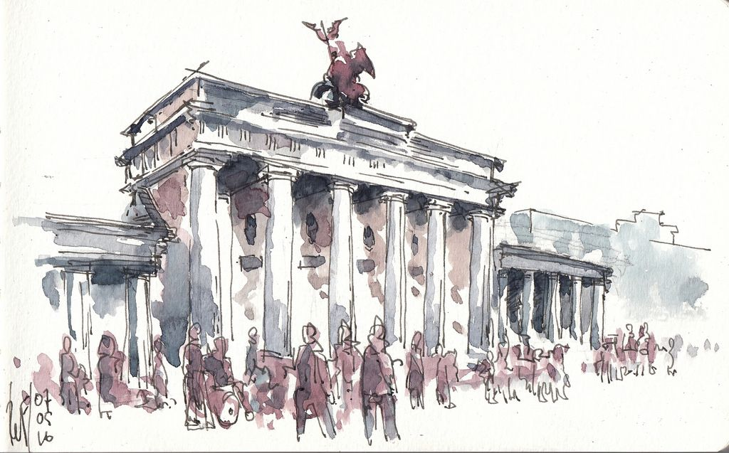 Brandenburger Tor Urban Sketching City Drawing Watercolor Paintings Tutorials