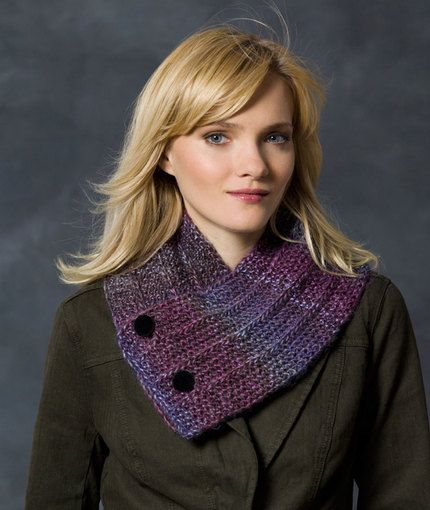 Button Up Neck Warmer Free Knitting Pattern In Red Heart Yarns One
