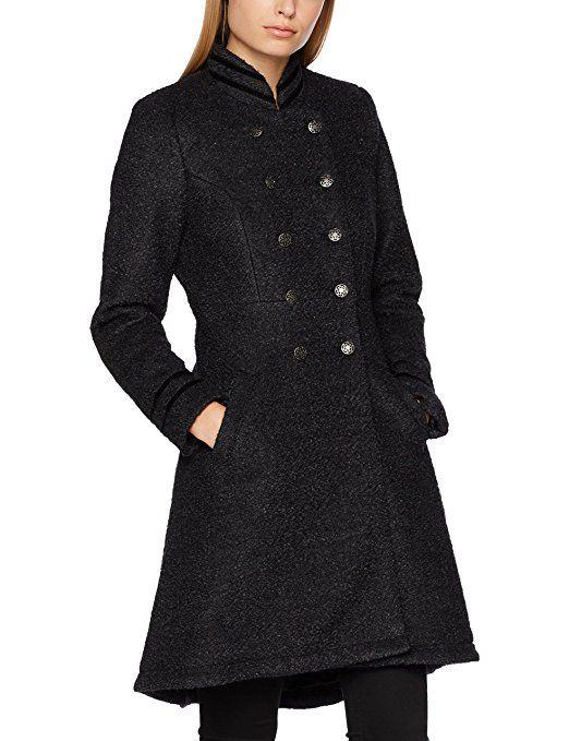 5cdd7a2ca4a7 Cream Damen Mantel Annabell Coat, Schwarz (Black Melange 61895), 36 ...