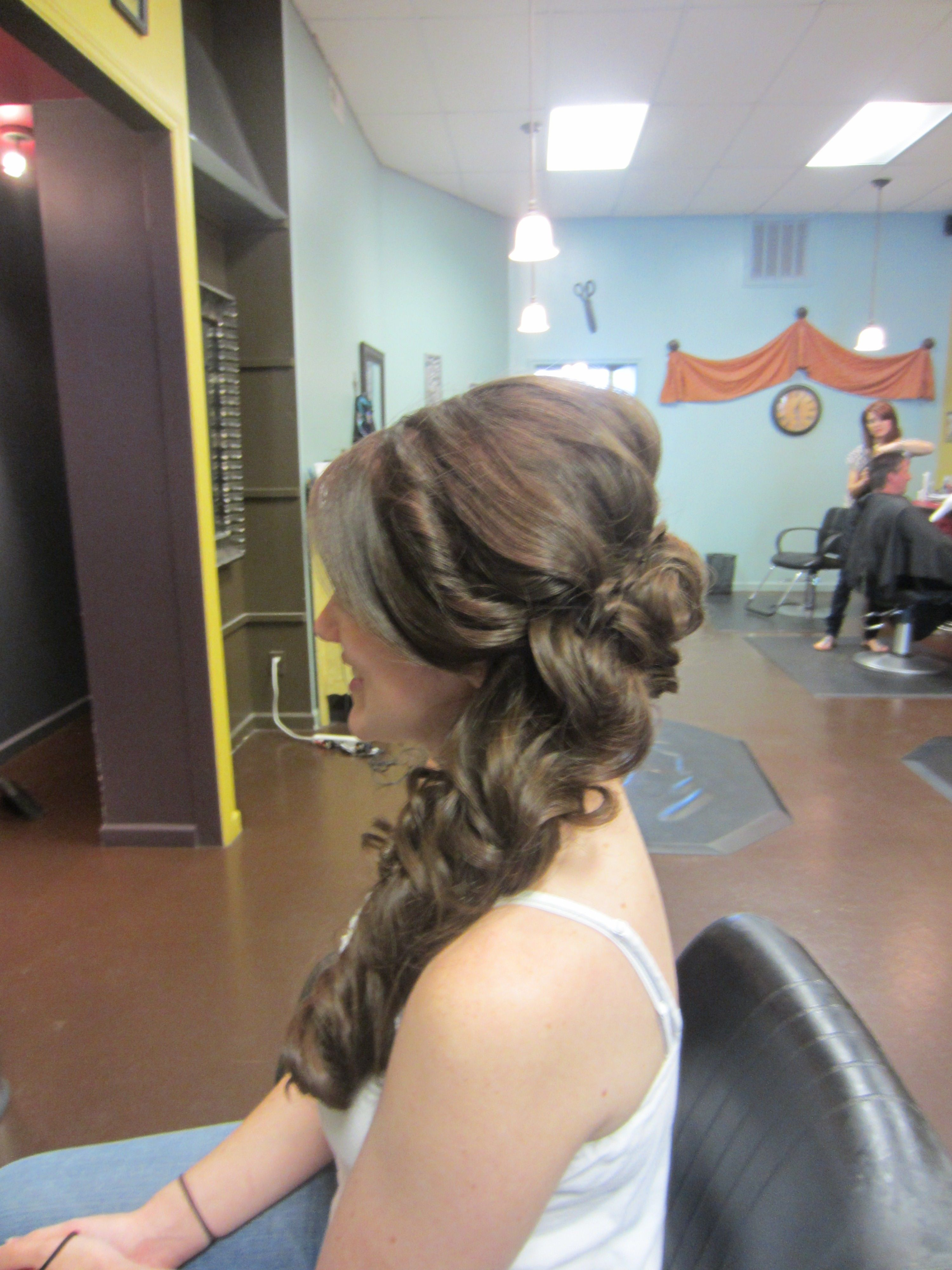 Disney's Belle from Beauty and the Beast inspired updo hairstyle for a bride. Stylist Ashley White/ So Vain Salon, Huntsville, AL