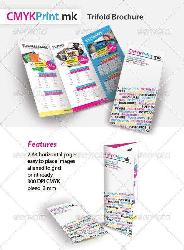 CMYK Print Trifold Brochure PSD TEMPLATES Pinterest Brochures