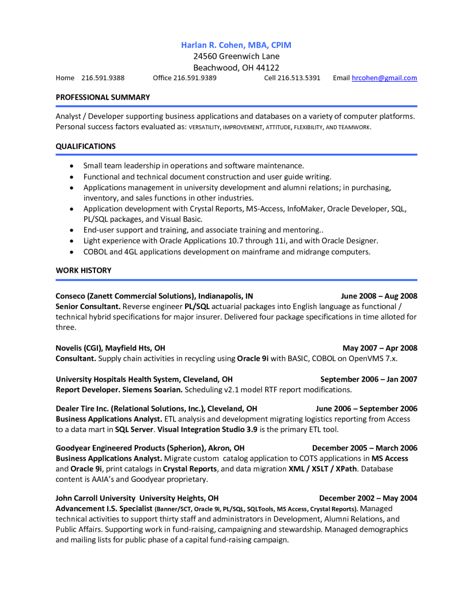 pl sql resume samples