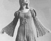 Vintage 1960s Juliet Dress Hippie Ren Faire Crochet Pattern PDF 6903