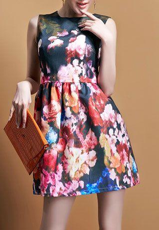Vintage Baroque Floral Print Gathered Waist Tunic Tank Skater Dress