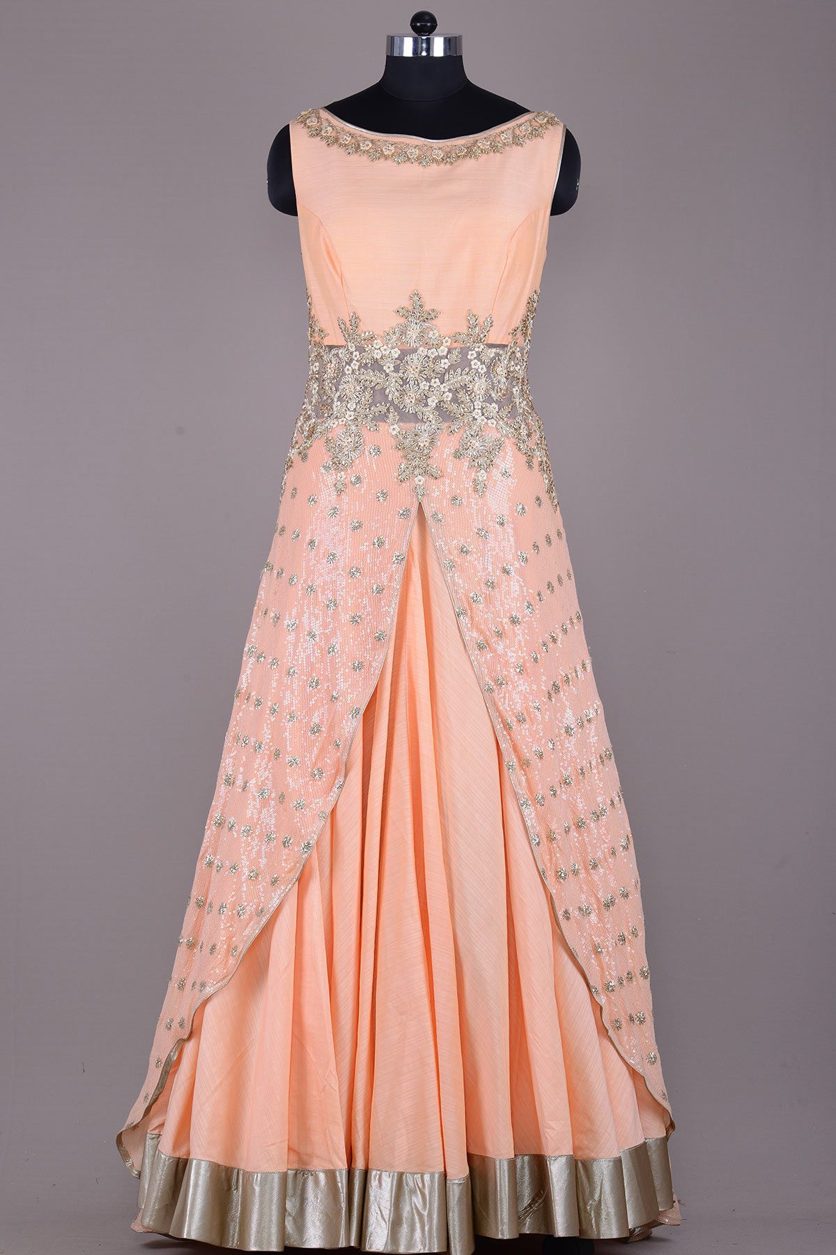 f8bfe28a7ac Buy Light Orange Zari Embroidered Raw Silk Evening Gown Online Evening  Gowns Online