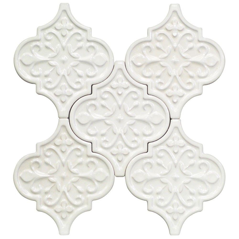 Ivy Hill Tile Vintage Florid Lantern White 6 1 4 In X 7 1 4 In X 8 Mm Ceramic Wall Mosaic Tile 30 Pieces 4 8 Sq Ft Box Ext3rd104636 The Home Depot Mosaic Wall Tiles Splashback Tiles Mosaic Wall