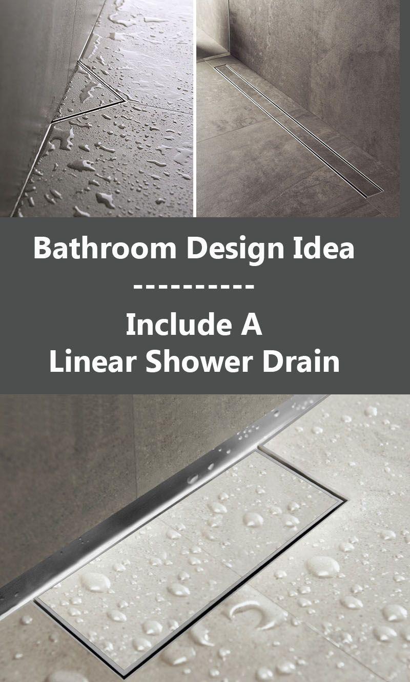 Bathroom Design Idea - Include A Linear Shower Drain | Shower drain ...