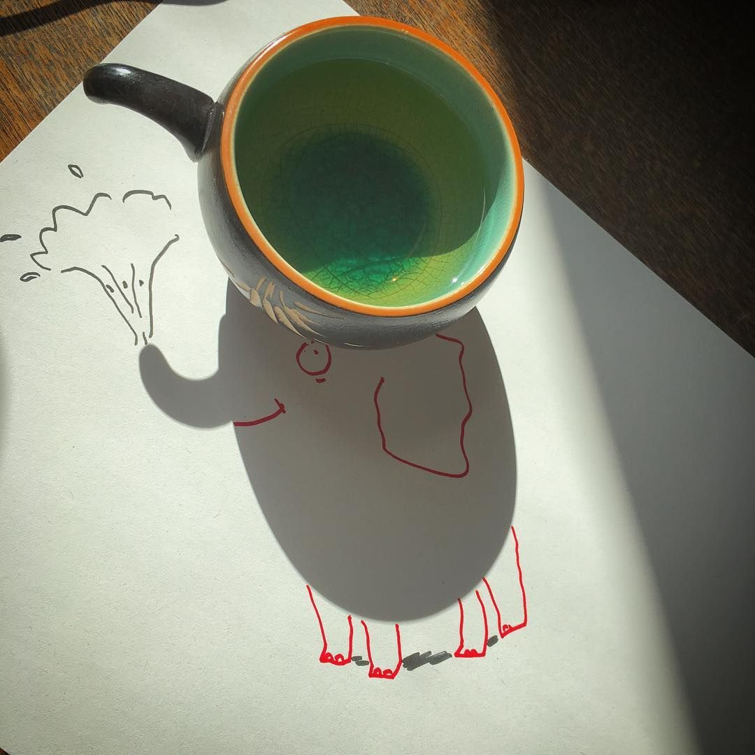 Elephant teacup shadow.#doodling #drawing #elephant #animal #instaart #shadow #drawing #picoftheday #objectart #instagood #happy